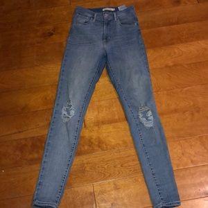 Levi's Mile High super skinny distressed jeans 26